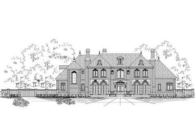 4-Bedroom, 6821 Sq Ft French House Plan - 156-1840 - Front Exterior