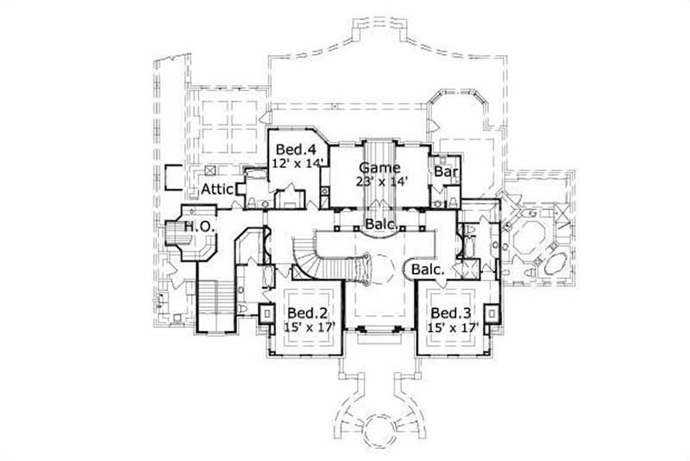 HOME PLAN NUMBER 31006 SECOND STORY FLOOR PLAN