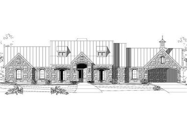 3-Bedroom, 3737 Sq Ft Country House Plan - 156-1841 - Front Exterior