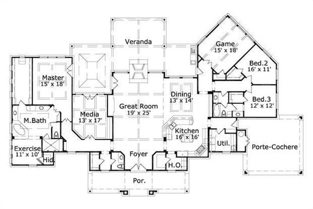 This image shows the master bedroom and bath as well as the living and dining area.
