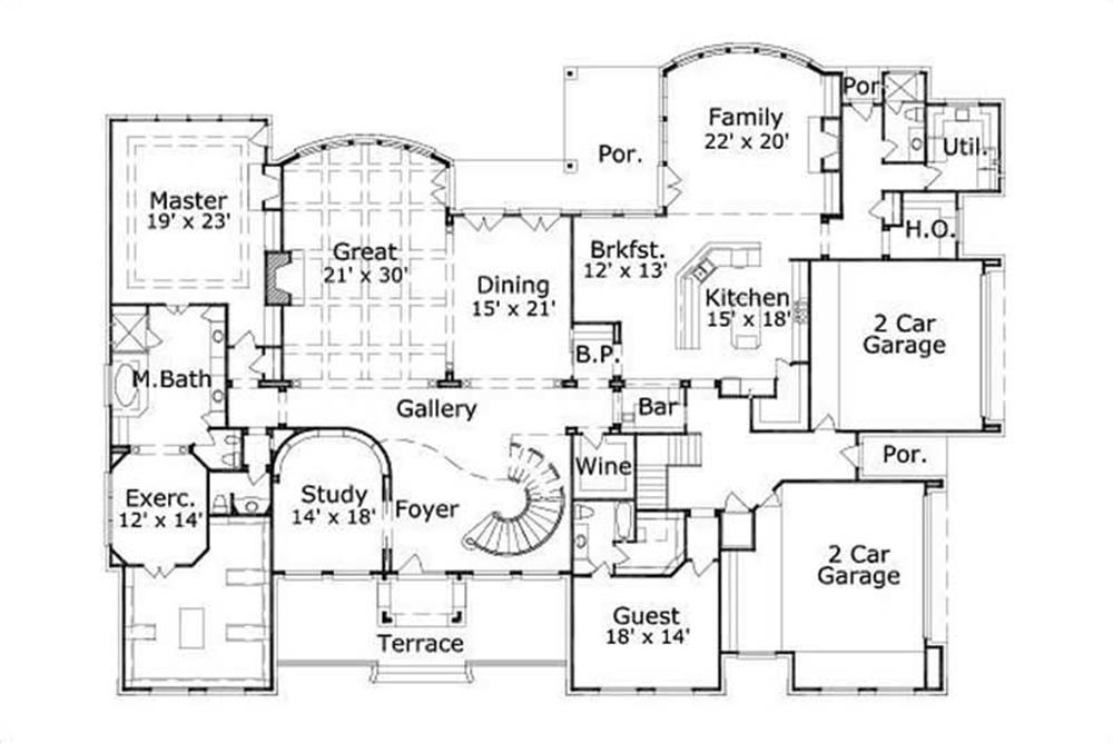 HOME PLAN NUMBER 177 FIRST STORY FLOOR PLAN