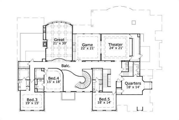 HOME PLAN NUMBER 177 SECOND STORY FLOOR PLAN