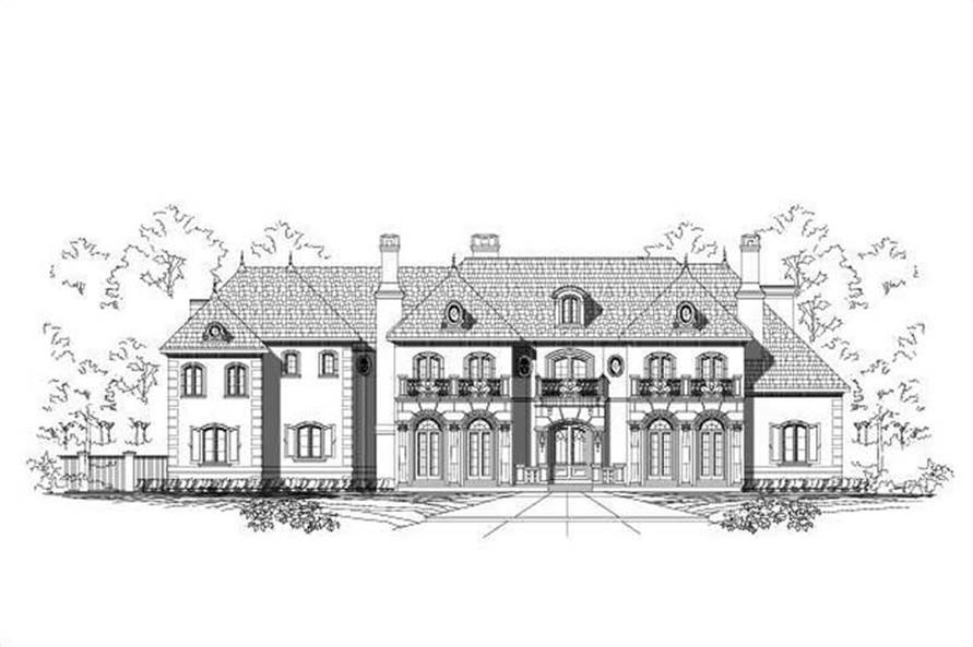 Home Plan Front Elevation of this 7-Bedroom,10754 Sq Ft Plan -156-1851