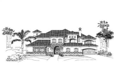 5-Bedroom, 7633 Sq Ft Spanish Home Plan - 156-1852 - Main Exterior
