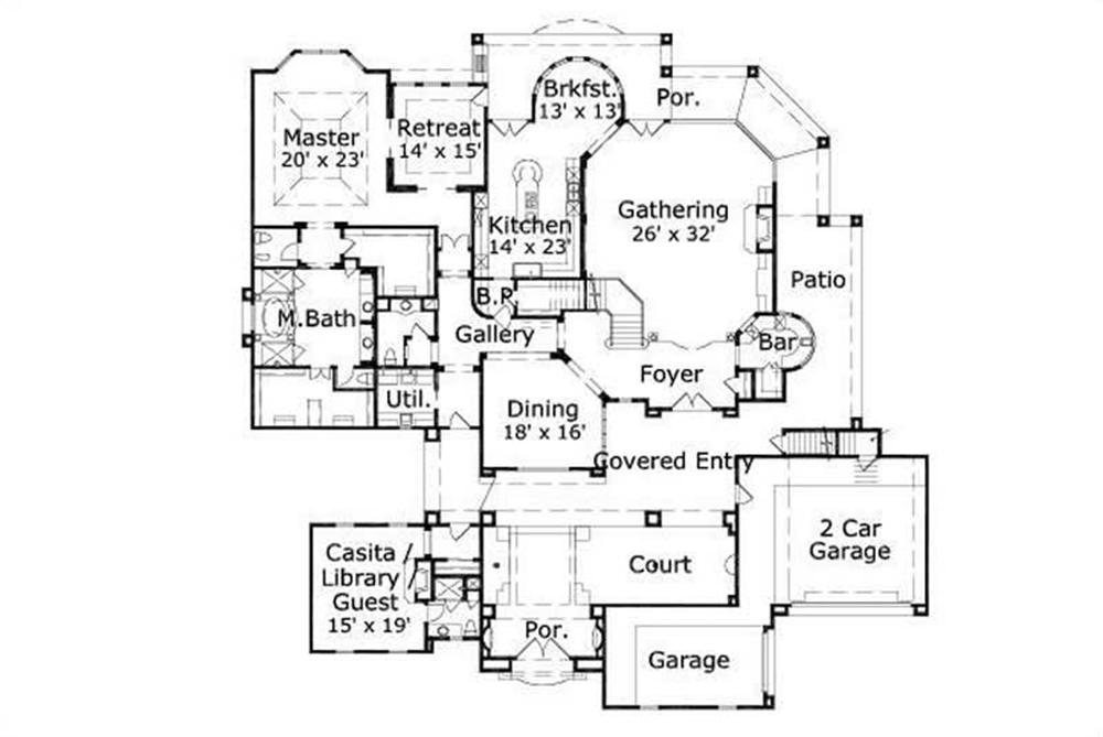 HOME PLAN NUMBER 20079 FIRST STORY FLOOR PLAN