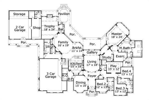 HOME PLAN NUMBER 20003 FIRST STORY FLOOR PLAN