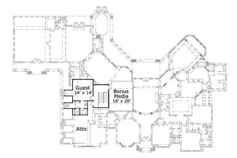 HOME PLAN NUMBER 20003 SECOND STORY FLOOR PLAN