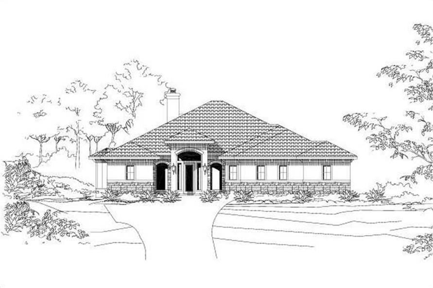 3-Bedroom, 3074 Sq Ft Mediterranean Home Plan - 156-1868 - Main Exterior
