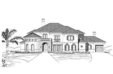4-Bedroom, 5526 Sq Ft Mediterranean Home Plan - 156-1879 - Main Exterior