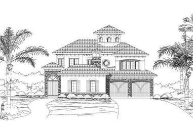3-Bedroom, 3823 Sq Ft Mediterranean House Plan - 156-1897 - Front Exterior