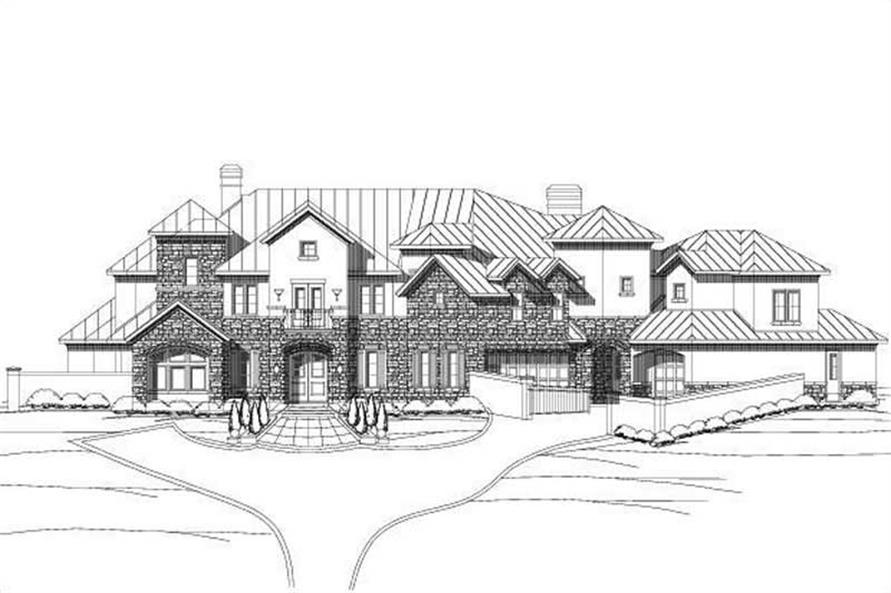 5-Bedroom, 6251 Sq Ft Spanish Home Plan - 156-1909 - Main Exterior
