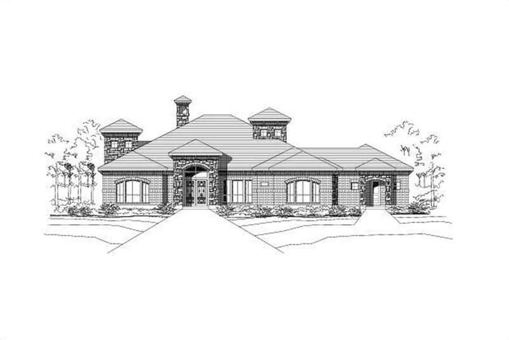Front elevation of Ranch home (ThePlanCollection: House Plan #156-1932)