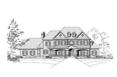 4-Bedroom, 3943 Sq Ft Colonial House Plan - 156-1951 - Front Exterior