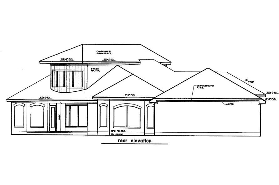 Home Plan Rear Elevation of this 3-Bedroom,3360 Sq Ft Plan -156-1955