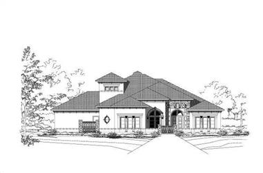 4-Bedroom, 4567 Sq Ft Spanish House Plan - 156-2005 - Front Exterior