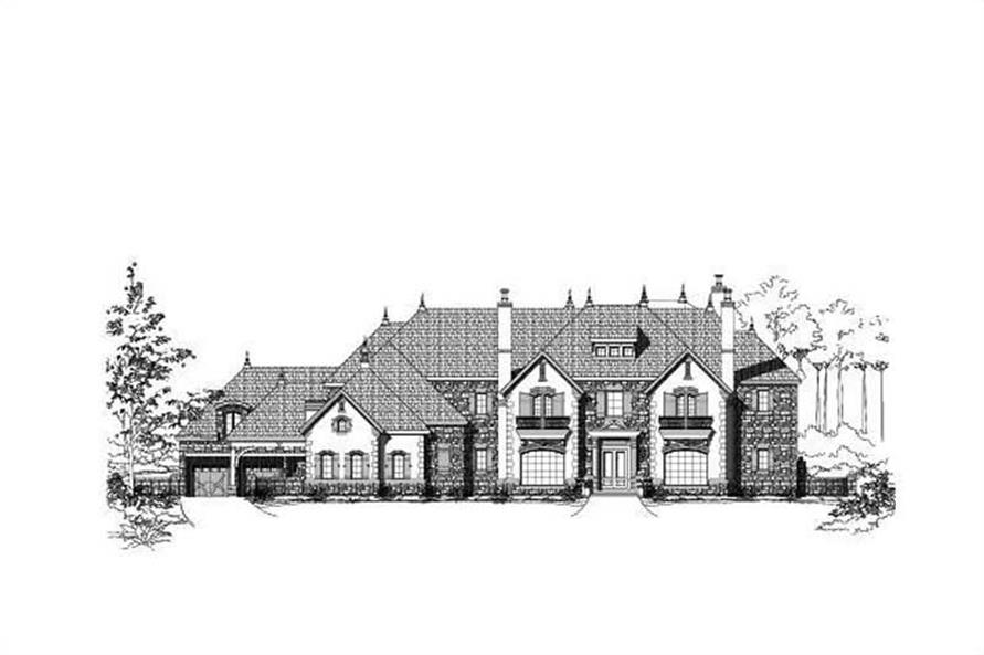 7-Bedroom, 15378 Sq Ft French House Plan - 156-2008 - Front Exterior