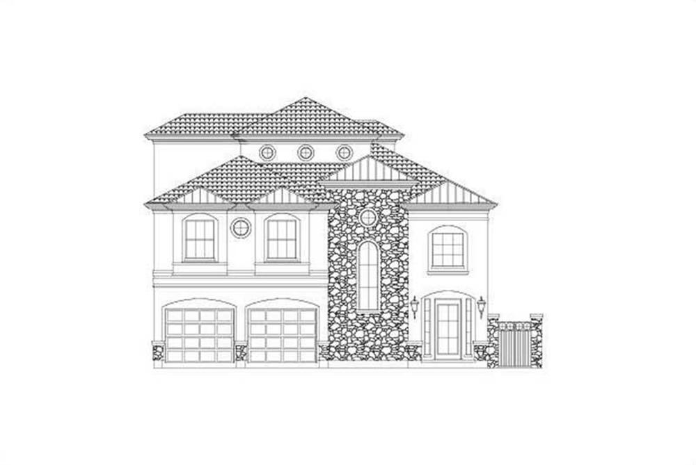 Front elevation of Tuscan home (ThePlanCollection: House Plan #156-2011)