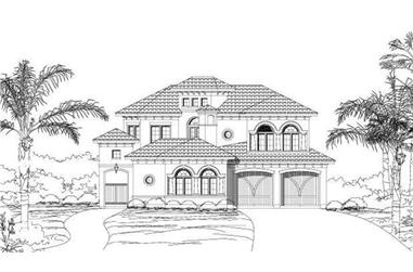 3-Bedroom, 3823 Sq Ft Spanish House Plan - 156-2017 - Front Exterior