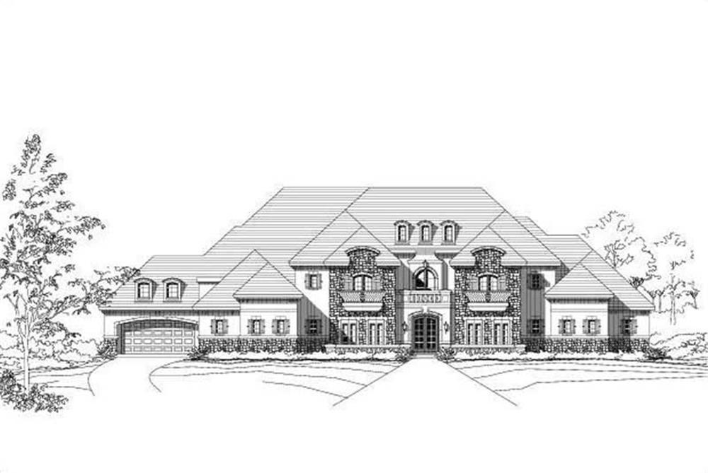 Front elevation of French home (ThePlanCollection: House Plan #156-2043)