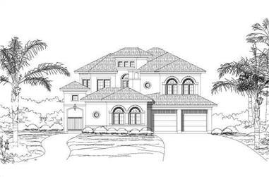4-Bedroom, 3913 Sq Ft Mediterranean Home Plan - 156-2049 - Main Exterior