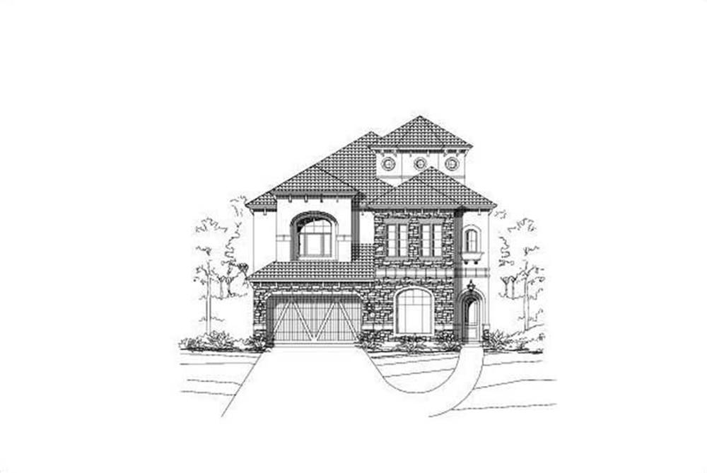 Front elevation of Spanish home (ThePlanCollection: House Plan #156-2060)