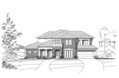 4-Bedroom, 4292 Sq Ft Spanish House Plan - 156-2071 - Front Exterior