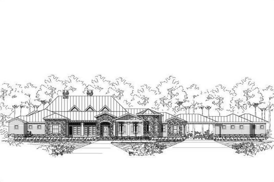 4-Bedroom, 3882 Sq Ft Spanish House Plan - 156-2115 - Front Exterior
