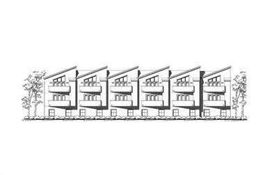 3-Bedroom, 1925 Sq Ft Multi-Unit House Plan - 156-2131 - Front Exterior