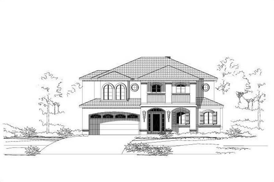 3-Bedroom, 3828 Sq Ft Mediterranean Home Plan - 156-2156 - Main Exterior
