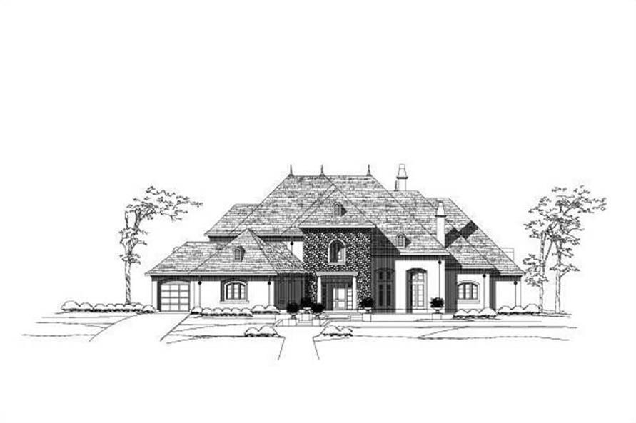 4-Bedroom, 6955 Sq Ft French House Plan - 156-2167 - Front Exterior