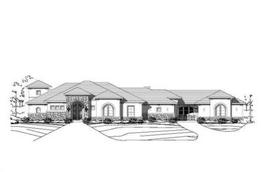 3-Bedroom, 3541 Sq Ft Spanish House Plan - 156-2170 - Front Exterior