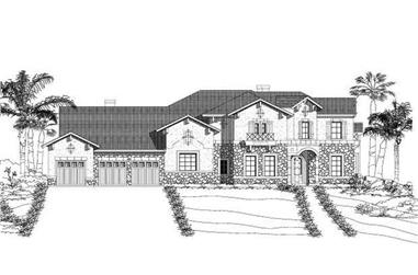 4-Bedroom, 4138 Sq Ft Mediterranean House Plan - 156-2173 - Front Exterior