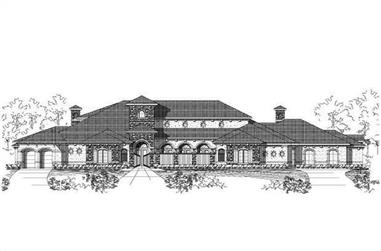 4-Bedroom, 8285 Sq Ft Spanish House Plan - 156-2187 - Front Exterior