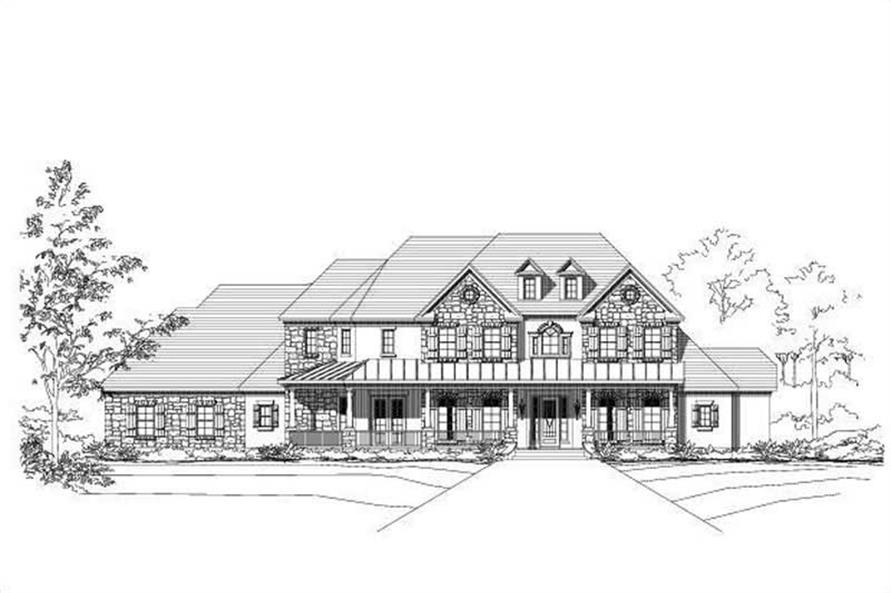 4-Bedroom, 4707 Sq Ft Country Home Plan - 156-2198 - Main Exterior
