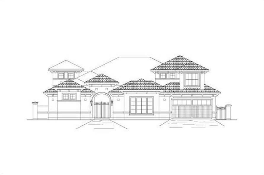 Front elevation of Mediterranean home (ThePlanCollection: House Plan #156-2221)