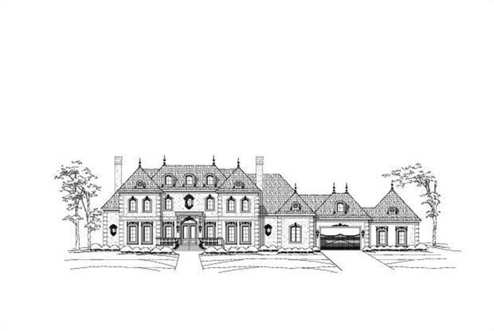 Front elevation of French home (ThePlanCollection: House Plan #156-2233)