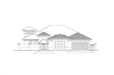 3-Bedroom, 3566 Sq Ft Mediterranean House Plan - 156-2238 - Front Exterior