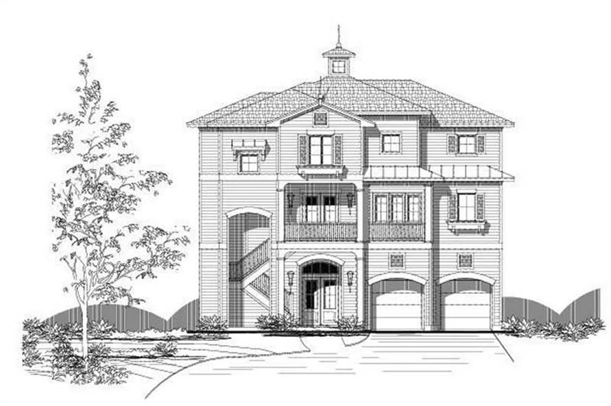 3-Bedroom, 3557 Sq Ft Coastal Home Plan - 156-2251 - Main Exterior