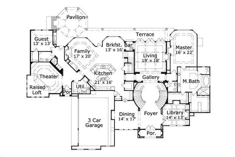 This image shows the master bedroom and bath, the living and dining areas, as well as the theater.