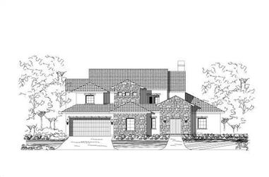 4-Bedroom, 4223 Sq Ft Spanish House Plan - 156-2289 - Front Exterior