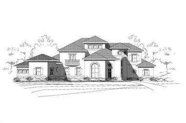 4-Bedroom, 4845 Sq Ft Mediterranean House Plan - 156-2292 - Front Exterior