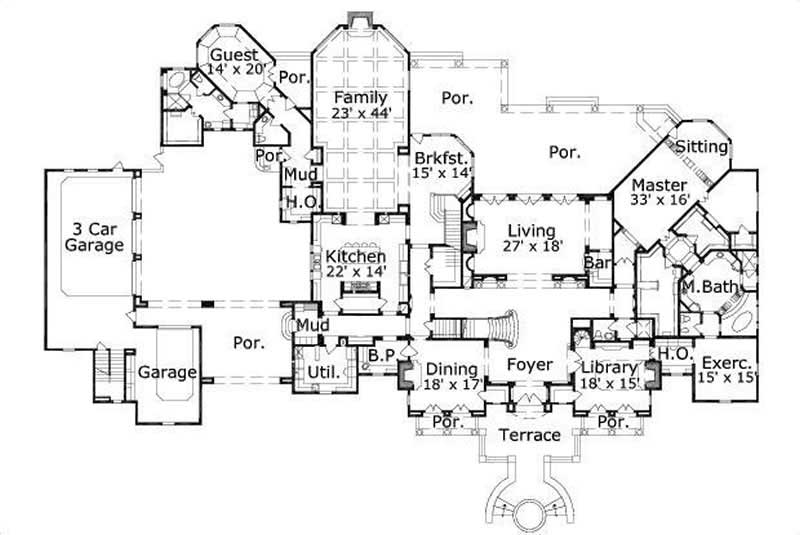 Luxury house plans french home design ohp 981421 19719 for Luxury house floor plans