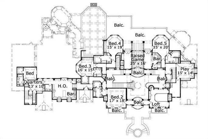 French Home Plan 8 Bedrms 75 Baths 11877 Sq Ft 1562307 – 7 Bedroom House Floor Plans