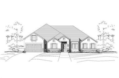 4-Bedroom, 3013 Sq Ft Ranch House Plan - 156-2308 - Front Exterior