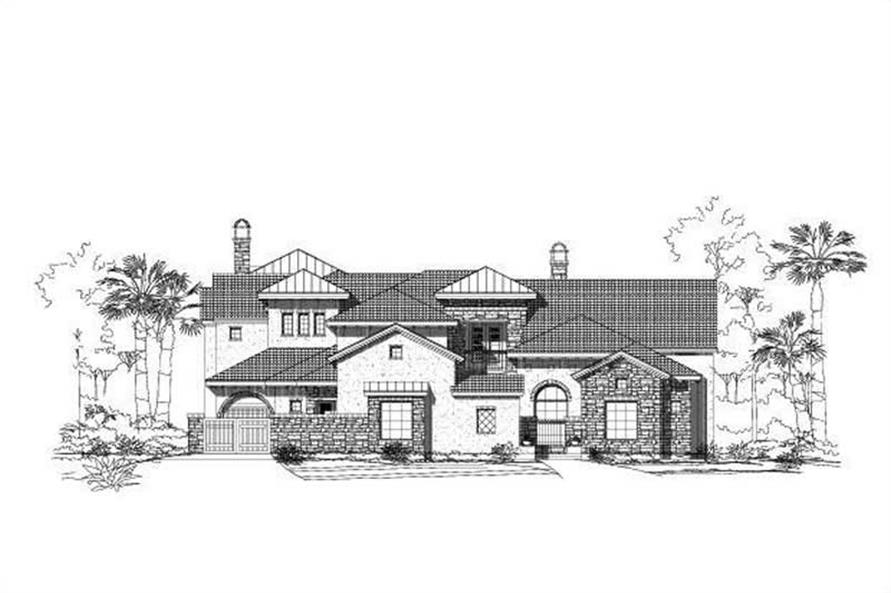 5-Bedroom, 6471 Sq Ft Spanish House Plan - 156-2337 - Front Exterior