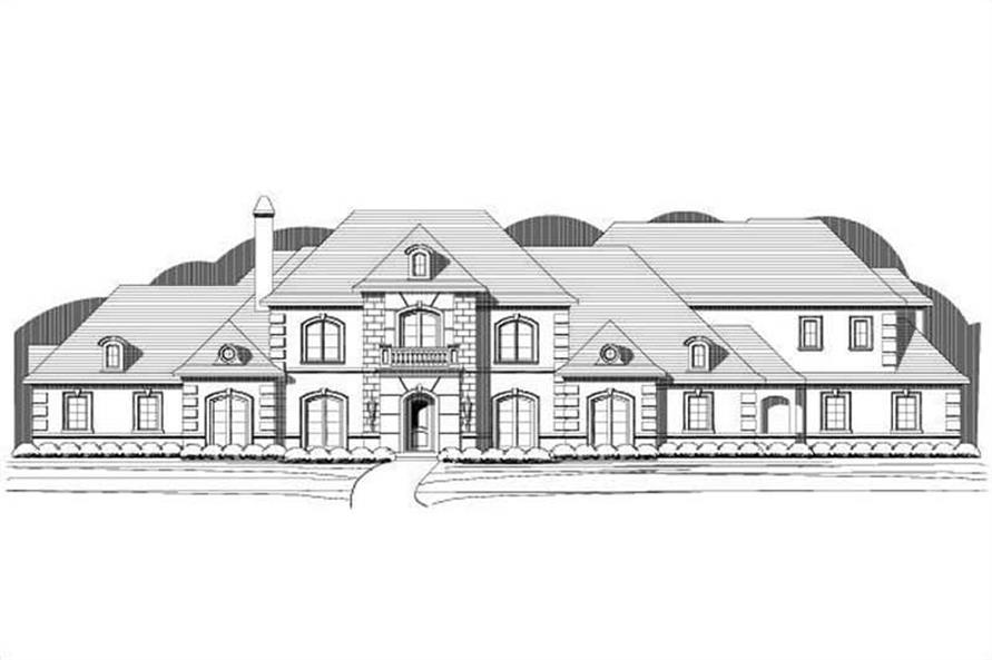 4-Bedroom, 5470 Sq Ft French House Plan - 156-2368 - Front Exterior