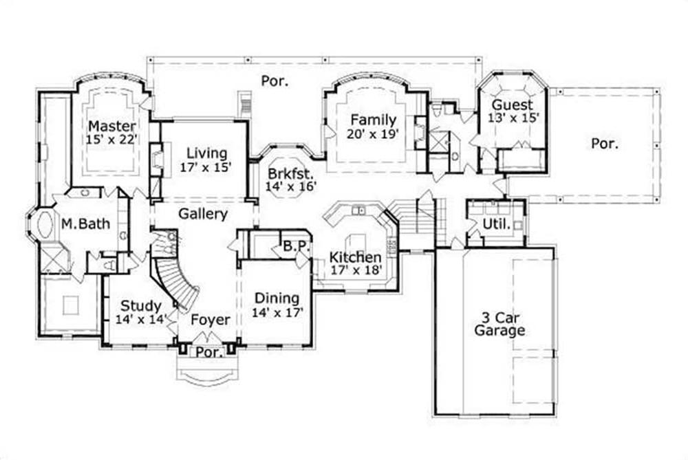 HOME PLAN NUMBER 1160 FIRST STORY FLOOR PLAN