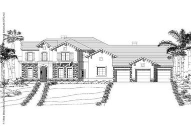 4-Bedroom, 4239 Sq Ft Home Plan - 156-2384 - Main Exterior