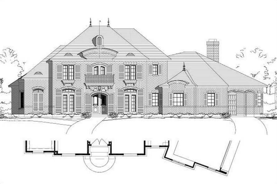 4-Bedroom, 4404 Sq Ft French House Plan - 156-2394 - Front Exterior