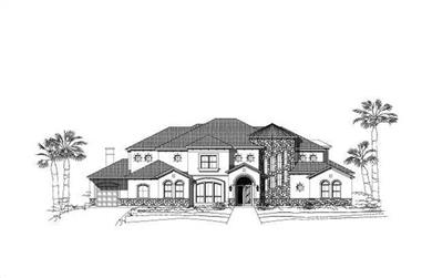 6-Bedroom, 7297 Sq Ft Spanish House Plan - 156-2395 - Front Exterior